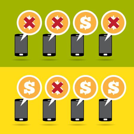perdidas y ganancias: Ilustraci�n vectorial de m�vil de comercio electr�nico de beneficio y el concepto de p�rdida.
