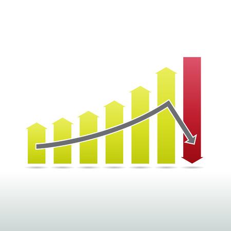 Vector illustration of sharp downward graphic arrow concept.