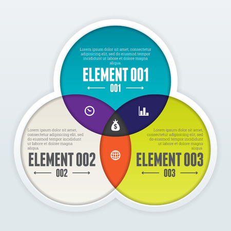 Vector illustration of triple intersect infographic design element.