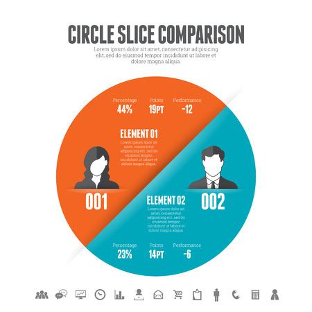 compare: Vector illustration of circle slice comparison infographic design element.