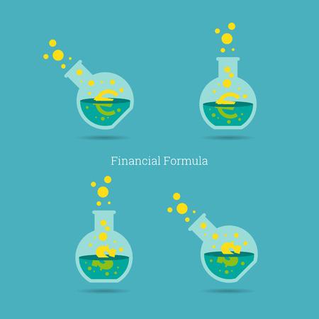 a solution tube: Vector illustration of dollar and euro financial formula concept. Illustration