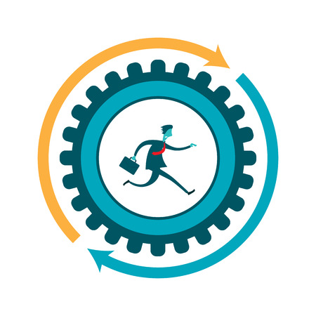 stressed people: Vector illustration of a businessman running on a  gear.