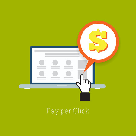 Vector illustration of laptop pay per click concept. Illustration