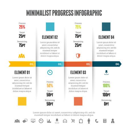 minimalist: Vector illustration of minimalist progress infographic design element.