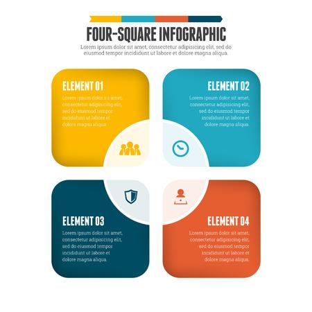 infografica: Illustrazione vettoriale di piazza quattro elemento di design infografica.