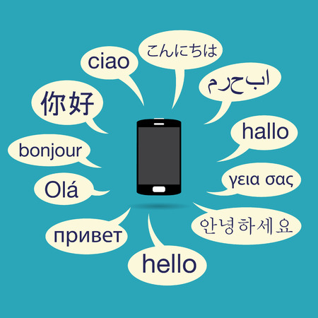 handheld device: Vector illustration of phone with various languanges on talk balloons.