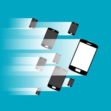 handheld device: Vector illustration of phones under impression of movement.