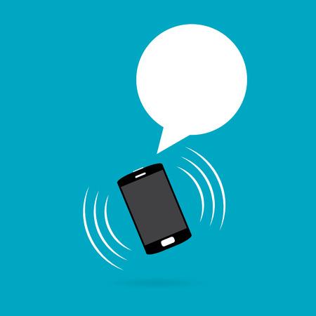 Vector illustratie van rinkelende en vibrerende telefoon met talk ballon witte copyspace.