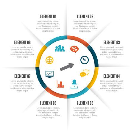 diagrama de procesos: Ilustración del vector del círculo rodante elemento de diseño infográfico. Vectores