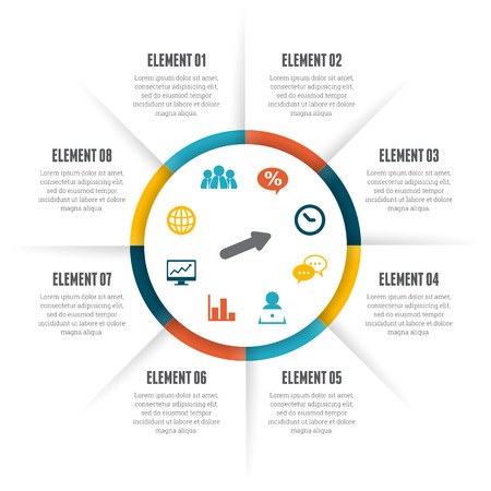 Vector illustration of rolling circle infographic design element. Çizim