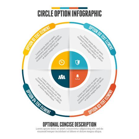 information design:  illustration of circle option infographic design element.