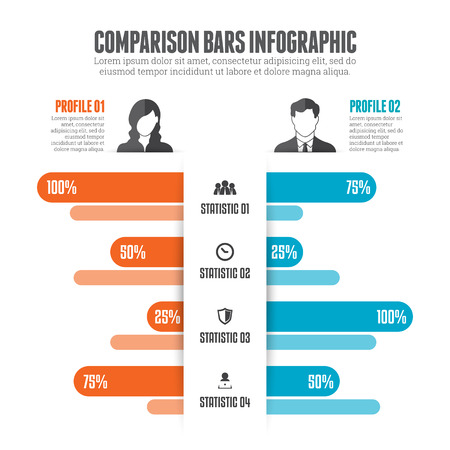 illustration of comparison bars infographic design element. Vettoriali