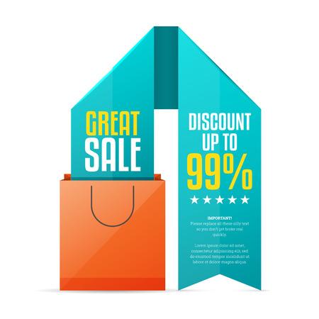 color design:  illustration of shopping bag ribbon copyspace design element. Illustration