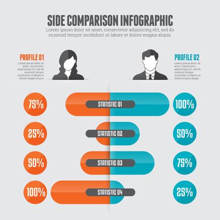 side bar:  illustration of side comparison infographic design element.