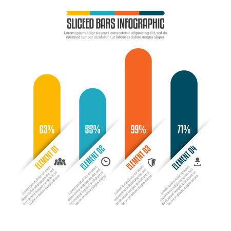sliced: ilustraci�n de bares rodajas de elementos de dise�o infogr�fico. Vectores