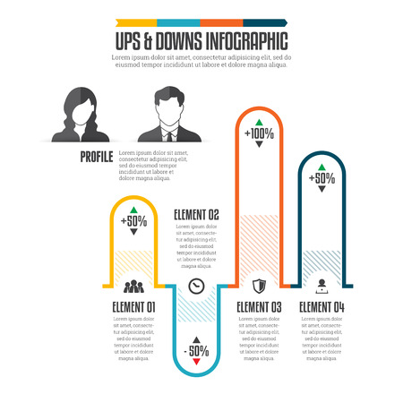 infographic illustration of ups and downs graphic bars