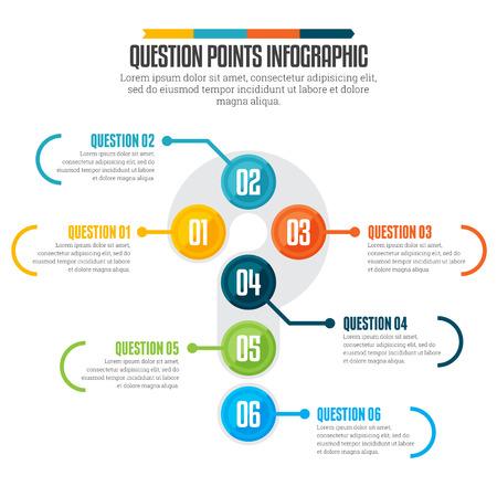 points: illustration of question points infographic design element.