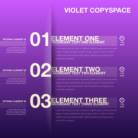 schedules: illustration of violet colored copyspace for timeline schedule template. Illustration
