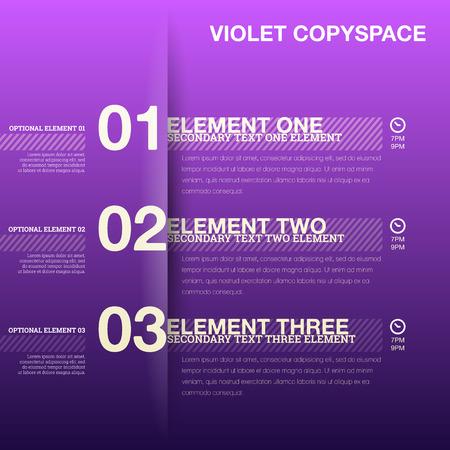cronogramas: ilustración de color violeta copyspace de plantilla calendario línea de tiempo.