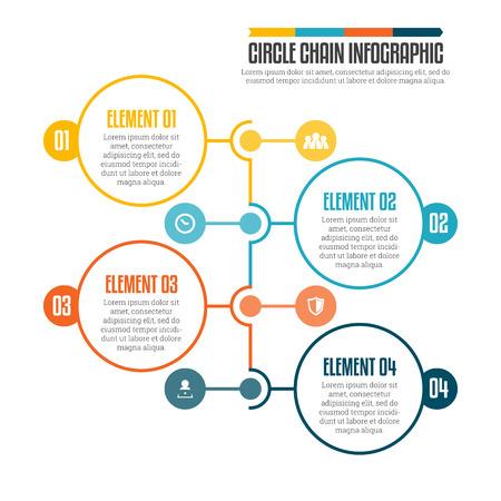 diagrama de flujo: ilustraci�n de la cadena c�rculo elemento de dise�o infogr�fico. Vectores