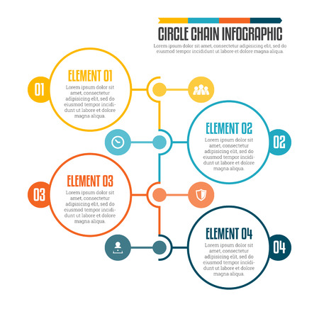 illustration of circle chain infographic design element.