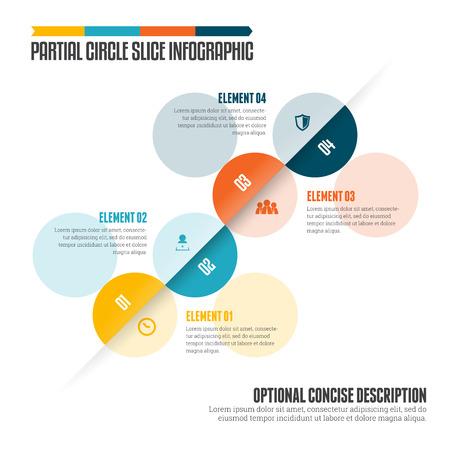 partial: ilustraci�n de c�rculo rebanada parcial elemento de dise�o infogr�fico. Vectores