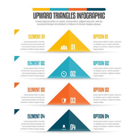 upward: illustration of upward triangles infographic design element.