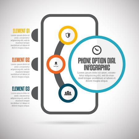 illustratie van de telefoon de optie dial infographic design element.