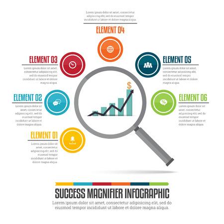 illustration of success magnifier infographic design element. Illustration