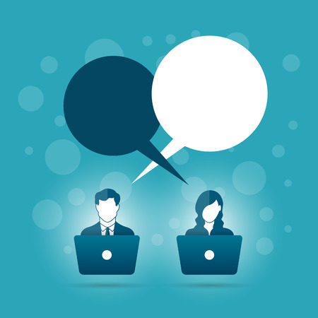 using laptop: illustration of abstract male and female using laptop with talk bubble copyspace.