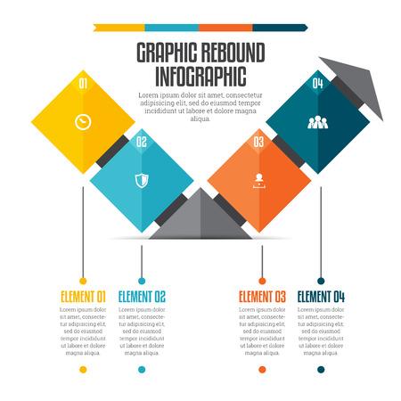 rebound:  illustration of graphic rebound infographic design element.