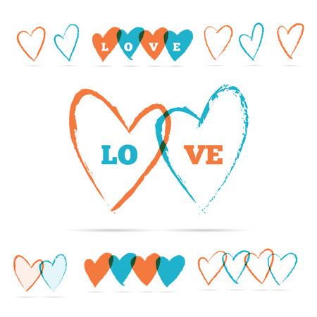love  heart: Vector illustration of color brush hearts.