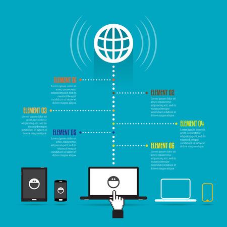 global design: Vector illustration of global online device copyspace design elements.