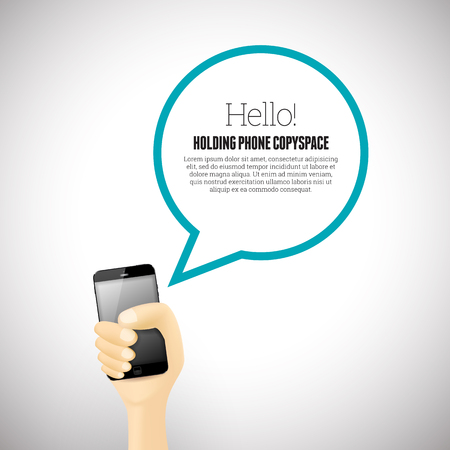 handheld device: Vector illustration of a hand holding a smartphone with talk bubble copyspace.