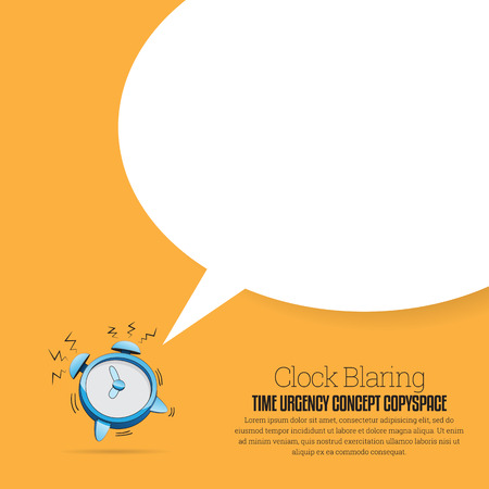 time: Vector illustration of a cartoon alarm clock blaring with talk bubble copyspace. Illustration