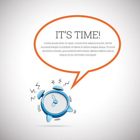 timeframe: Vector illustration of a cartoon alarm clock blaring with talk bubble copyspace. Illustration