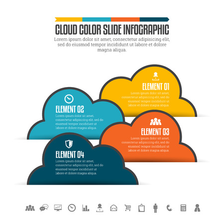 cloud shape: Vector illustration of cloud color slide infographic design element.