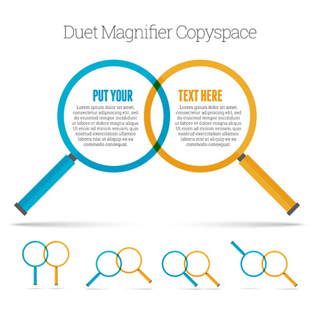 duet: Vector illustration of two minimalistic magnifier copyspace design element.