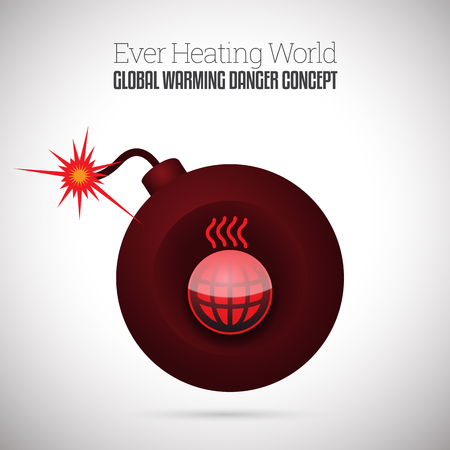 Vector illustration of ignited time bomb with heating up world symbol. Illustration