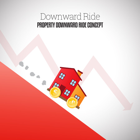 descend: Vector illustration of mobile house with wheels of gold dollar coins riding downhill.