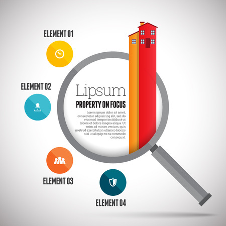 the property: Vector illustration of property focus infographic design element.