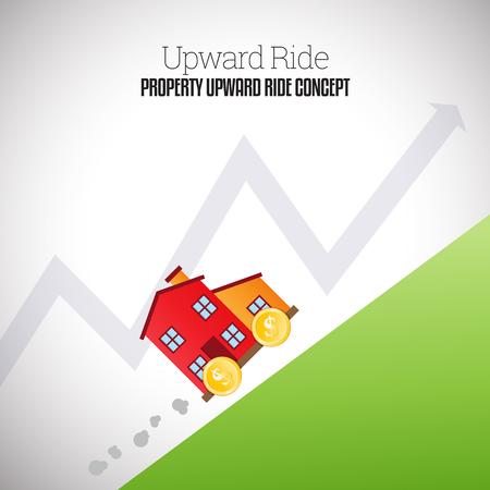 valor: Ilustración vectorial de una casa móvil con ruedas de monedas de un dólar de oro de escalada ascendente hacia arriba.