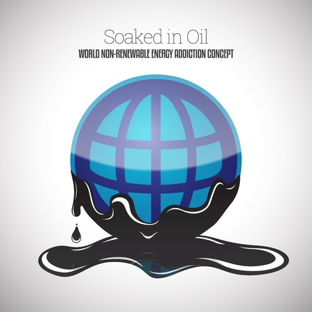 nonrenewable: Vector illustration of a globe round symbol soaked in black thick oil.