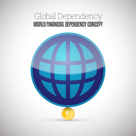Vector illustration of a small gold coin lifting up a larger globe ball. Illustration