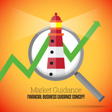 guidance: Vector illustration of financial business guidance concept with a lighthouse and graphic arrow on a magnifier. Illustration