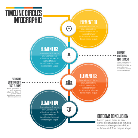 diagrama de procesos: Ilustración del vector del círculo de línea de tiempo vertical, elemento de diseño infográfico. Vectores