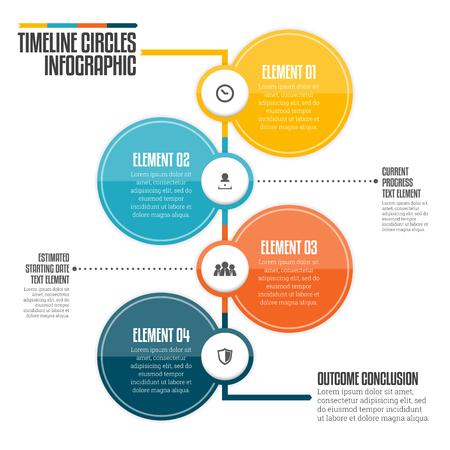 Vector illustration of vertical timeline circle infographic design element.
