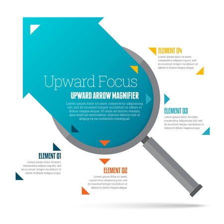 upward: Vector illustration of upward arrow magnifier infographic design element. Illustration