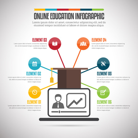 online education: Vector illustration of online education infographic design element.