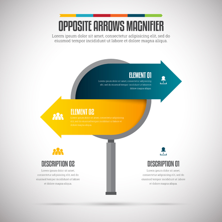 opposite: Vector illustration of opposite arrows magnifier infographic design element. Illustration